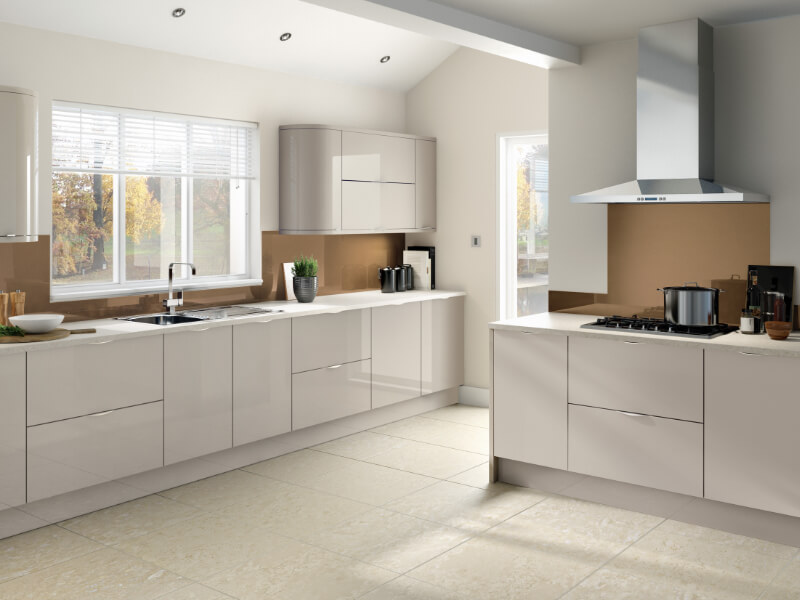 image of the Glacier range in high gloss cashmere from the Eyeline Kitchens contemporary range.
