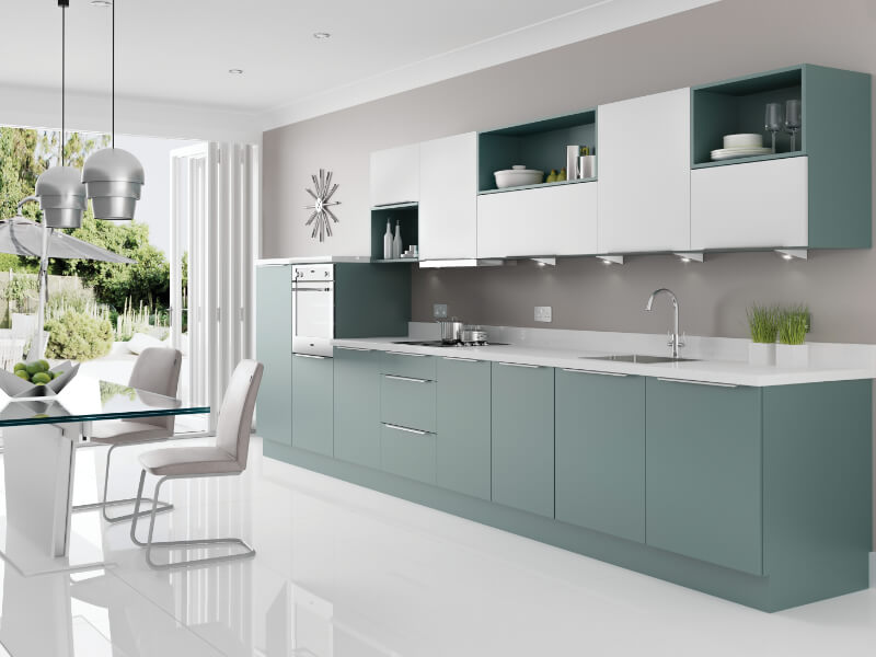 image of the Metro range in Fjord and white from Eyeline Kitchens contemporary range.