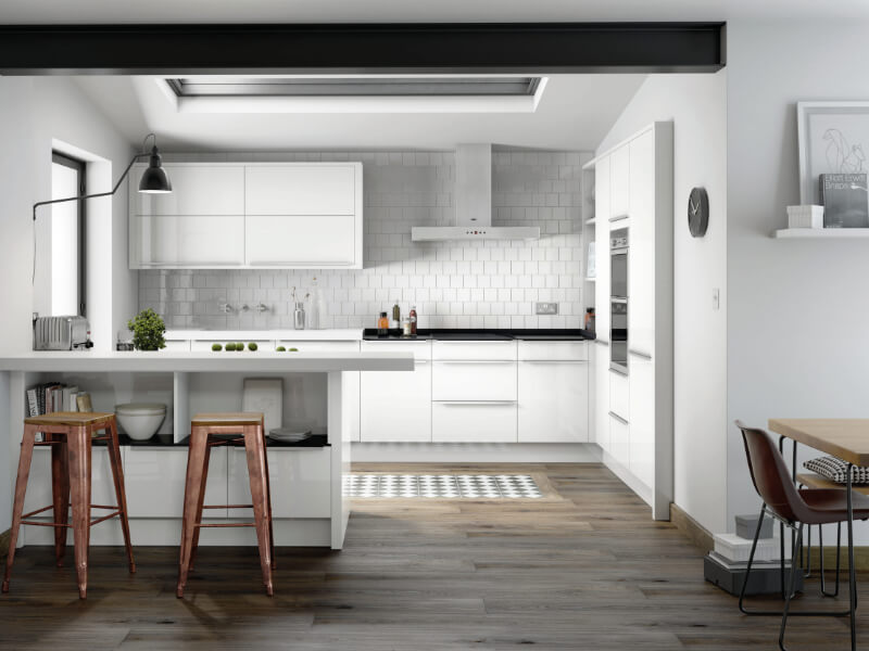 Image of the Porter Range in White Gloss from Eyeline Kitchens Contemporary Range.