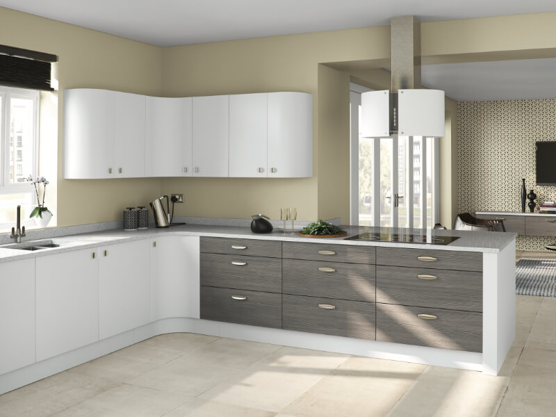 image of the Premier range in white from Eyeline Kitchens contemporary range.